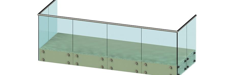 Балконные ограждения без стоек, крепление на точках