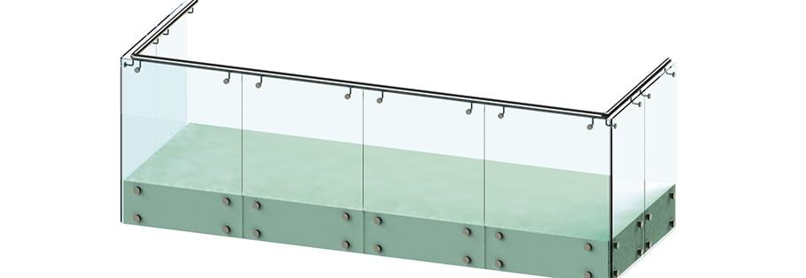 Балконные ограждения без стоек, точечное крепление, выносной поручень